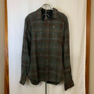 Volcom Tailored Long Sleeve Flannel Shirt Size Med